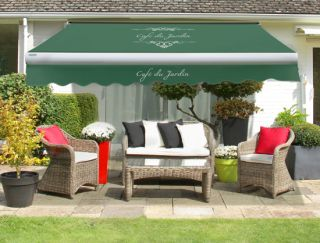3.5m Café Du Jardin on Plain Green Replacement Awning Cover with Valance