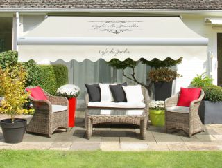 4.5m Café Du Jardin on Ivory Replacement Awning Cover with Valance
