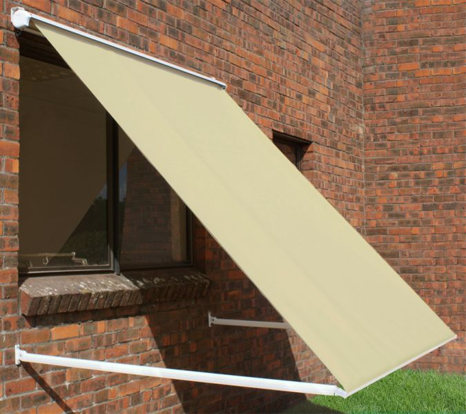 1.5m Half Cassette Drop Arm Awning, Ivory