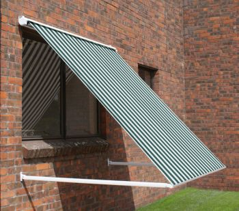 2.5m Half Cassette Drop Arm Awning, Green and White