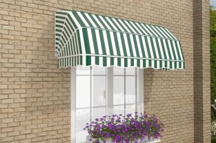 1.5m Dutch Canopy Green and White Awning