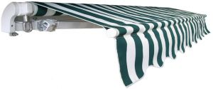 Eco Manual Awning - Green and White Stripe