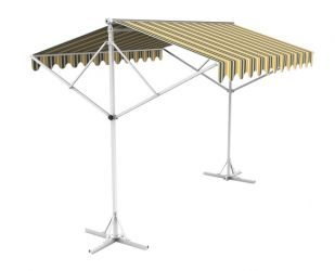 5m Free Standing Yellow and Grey Awning