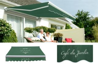 3.5m Full Cassette Manual Awning, Café Du Jardin Plain Green