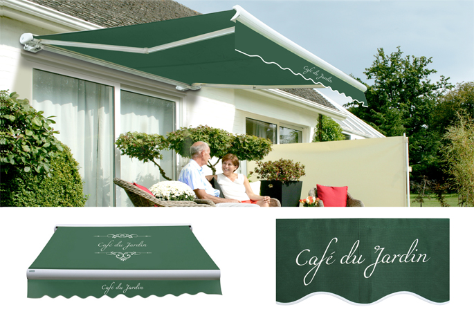 2.5m Full Cassette Electric Awning, Café Du Jardin Plain Green