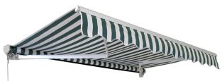 1.5m Half Cassette Manual Awning, Green and White