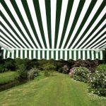 4.0m Half Cassette Electric Awning, Green and White Stripe