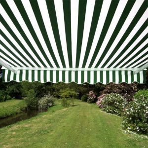 2.5m Half Cassette Electric Awning, Green and White Even Stripe