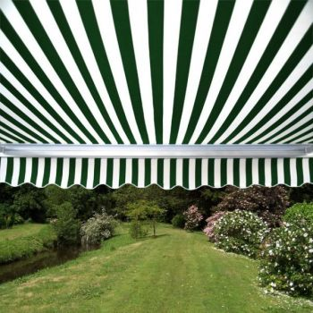 4.5m Half Cassette Manual Awning, Green and white stripe