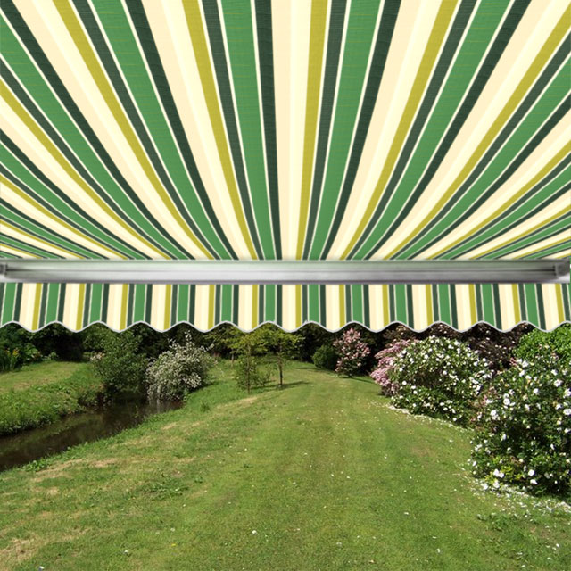 4.5m Full Cassette Manual Awning, Green Stripe Acrylic