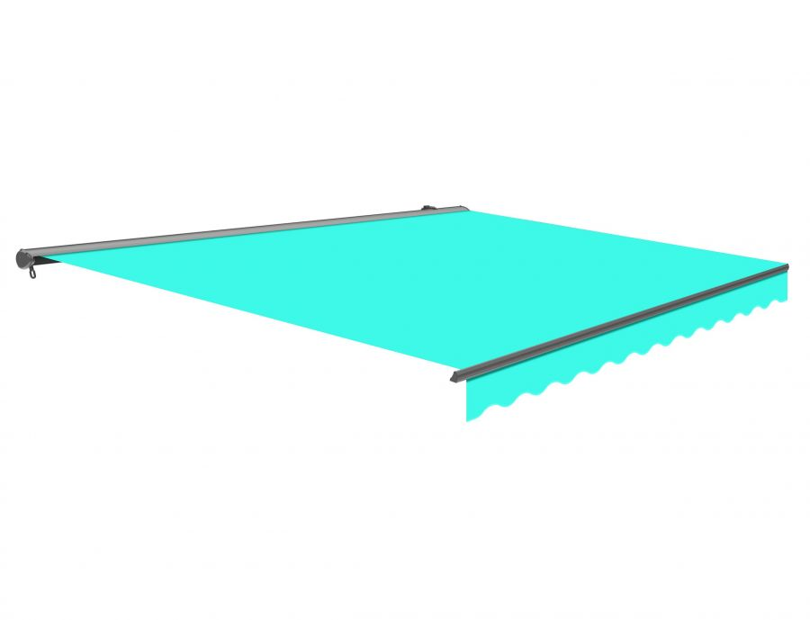 2.5m Half Cassette Manual Turquoise Awning (Charcoal Cassette)