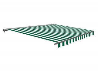 2.5m Half Cassette Manual Green and White Awning (Charcoal Cassette)