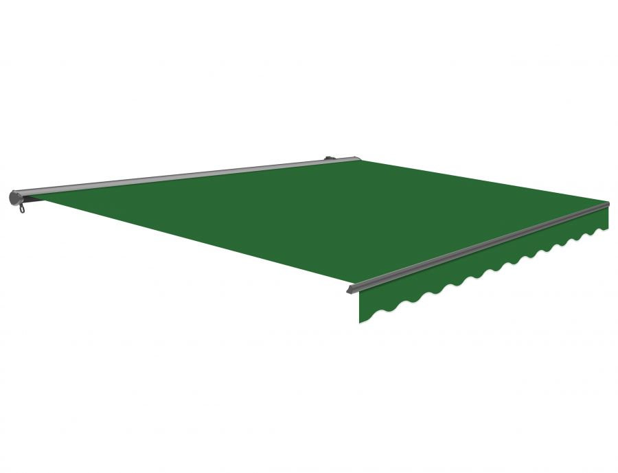 3m Half Cassette Manual Plain Green Awning (Charcoal Cassette)