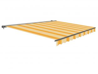 2.5m Half Cassette Manual Yellow Stripe Awning (Charcoal Cassette)
