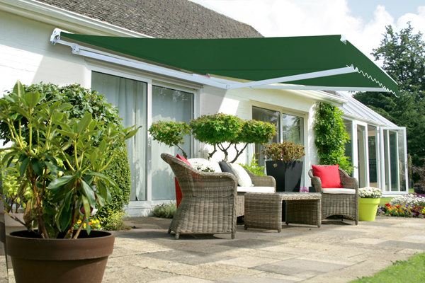 4.0m Half Cassette Electric Awning, Plain Green (4.0m Projection)
