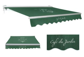 3.0m Half Cassette Manual Awning, Cafe Du Jardin Plain Green