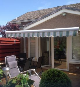 3.0m Full Cassette Electric Awning, Plain Blue