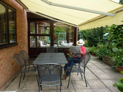 2.5m Half Cassette Electric Patio Awning, Ivory