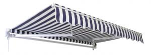 3.5m Standard Manual Awning, Blue and White Stripe