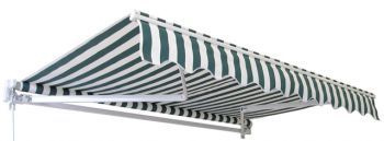 3.0m Standard Manual Awning, Green and White Even Stripe