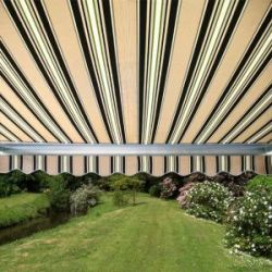 6m Full Cassette Electric Awning, Multi Stripe Polyester