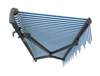3m Standard Manual Blue and White Awning (Charcoal Cassette)