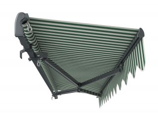 3m Standard Manual Green and White Awning (Charcoal Cassette)