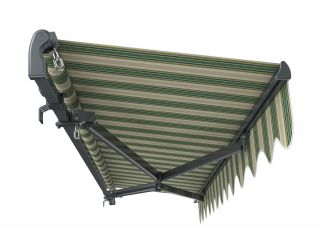 3m Standard Manual Green Stripe Awning (Charcoal Cassette)