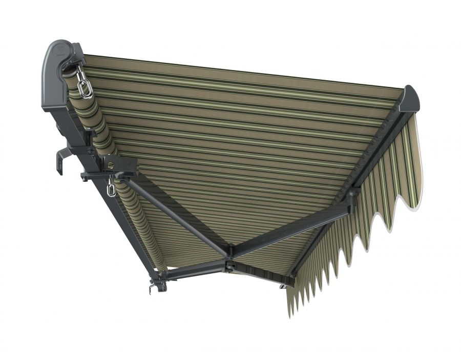 3m Standard Manual Multistripe Awning (Charcoal Cassette)