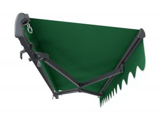 3m Standard Manual Plain Green Awning (Charcoal Cassette)