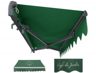 2.5m Standard Manual Cafe Du Jardin Plain Green Awning (Charcoal Cassette)