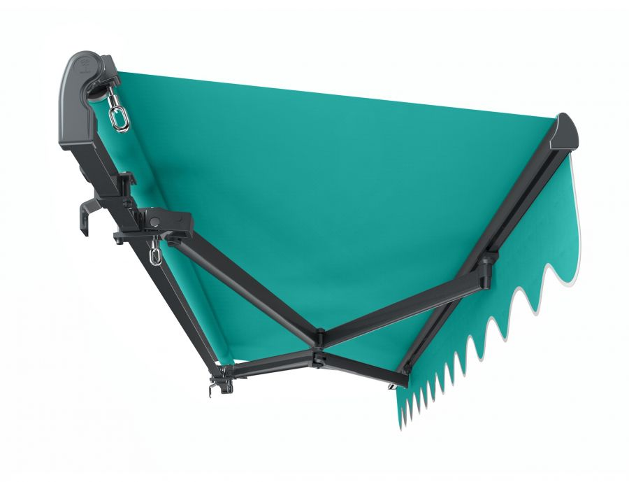 4m Standard Manual Turquoise Awning (Charcoal Cassette)