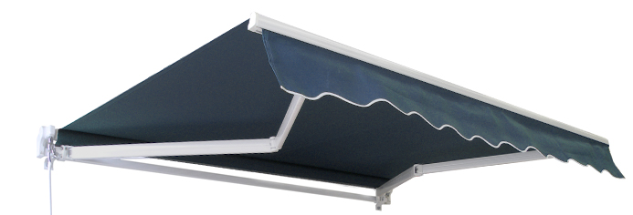 5m Standard Manual Awning, Dark Plain Blue