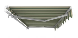 5m Standard Manual Awning, Green Stripe