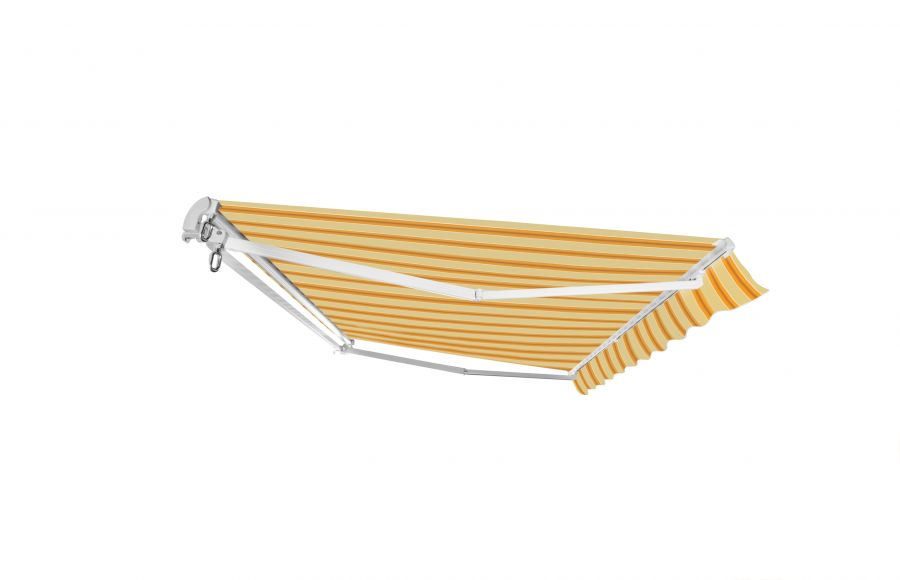 5m Standard Manual Awning, Yellow Stripe