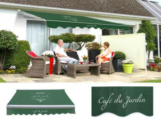 3.5m Standard Manual Café Du Jardin Plain Green Awning