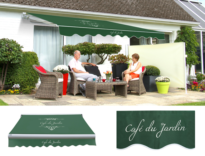 Standard manual caf du jardin plain green awning for Cafe du jardin london