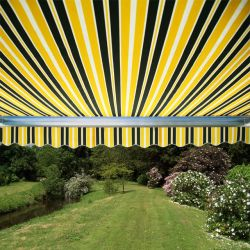 4.0m Full Cassette Electric Awning, Yellow and grey stripe