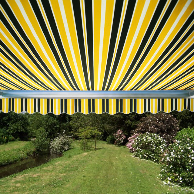 3.5m Full Cassette Manual Awning, Yellow and Grey Stripe