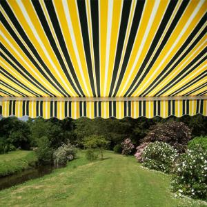 3.5m Half Cassette Manual Awning, Yellow and Grey Stripe