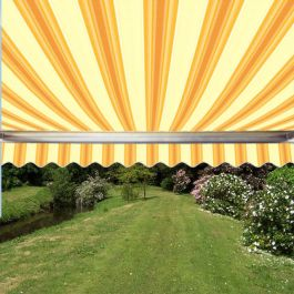 5.0m Full Cassette Manual Awning, Yellow Stripe Polyester
