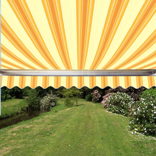 2.5m Full Cassette Manual Awning, Yellow Stripe Polyester