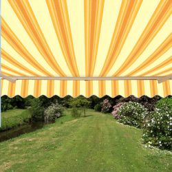 2.5m Half Cassette Manual Awning, Yellow Stripe