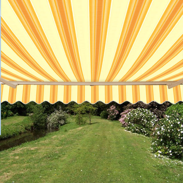 4.5m Half Cassette Manual Awning, Yellow Stripe Polyester